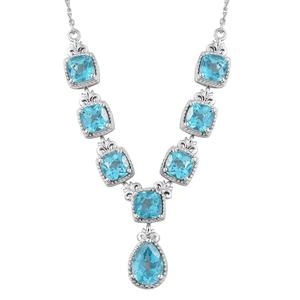 Paraiba Topaz Platinum Over Sterling Silver Necklace (18 in) TGW 10.63 cts.