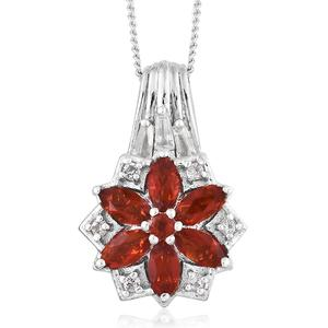 Crimson Fire Opal, White Topaz Platinum Over Sterling Silver Floral Pendant With Chain (20 in) TGW 0.79 cts.