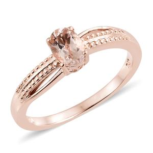 Marropino Morganite Vermeil RG Over Sterling Silver Solitaire Ring (Size 8.0) TGW 0.65 cts.