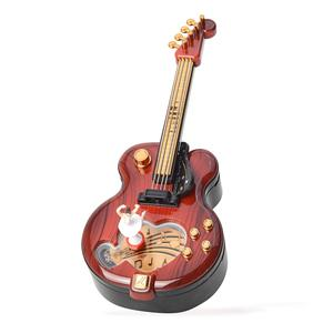 Maily Brown Guitar Music Box (For Elise) (11x4.5x3.5 in)