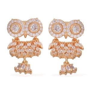 Simulated Diamond Goldtone Owl Earrings TGW 5.00 cts.