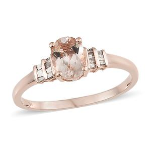 Srikant's Showstopper Marropino Morganite, Natural Champagne Diamond Vermeil RG Over Sterling Silver Ring (Size 7.0) TDiaWt 0.15 cts, TGW 1.15 cts.