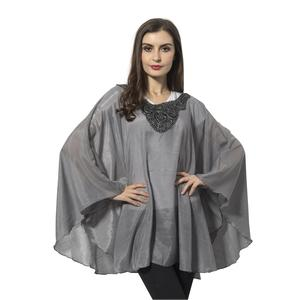 Gray 100% Polyester Poncho with Flower Collar (30.71x53.55 in)