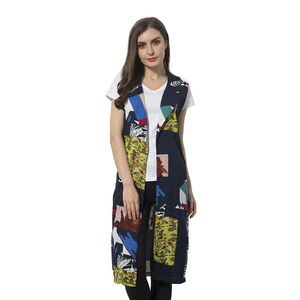 Navy and Green 100% Polyester Art Pattern Summer Vest (42x18 in)