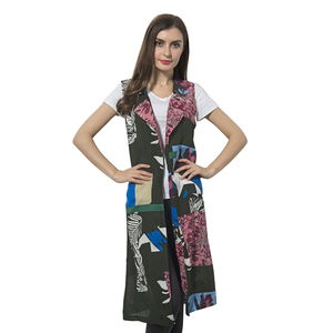 Light Brown and Red 100% Polyester Art Pattern Summer Vest (42x18 in)