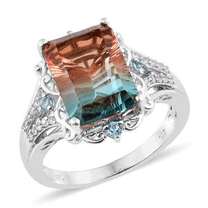 Aqua Terra Costa Quartz, Multi Gemstone Platinum Over Sterling Silver Ring (Size 7.0) TGW 8.62 cts.