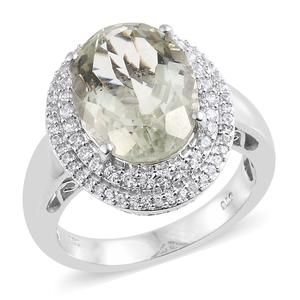 Nitin's Knockdown Deals Green Amethyst, Cambodian Zircon Platinum Over Sterling Silver Cocktail Ring (Size 8.0) TGW 9.70 cts.