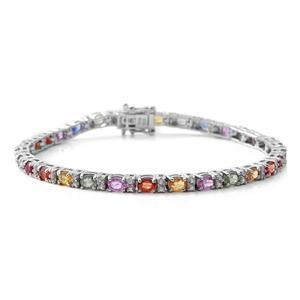 TLV Multi Sapphire, Cambodian Zircon Sterling Silver Bracelet (6.50 In) TGW 6.73 cts.