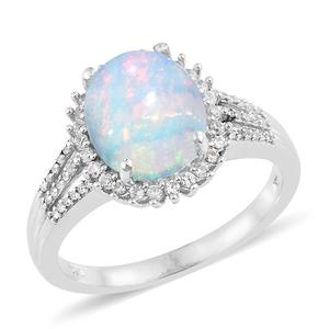 Ethiopian Welo Opal, Cambodian Zircon Platinum Over Sterling Silver Split Ring (Size 10.0) TGW 3.13 cts.