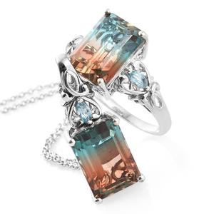 Nitin's Knockdown Deals Aqua Terra Costa Quartz, Electric Blue Topaz Platinum Over Sterling Silver Ring (Size 8) and Pendant With Chain (20 in) TGW 18.50 cts.