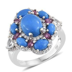 Ceruleite, Multi Gemstone Platinum Over Sterling Silver Ring (Size 7.0) TGW 5.64 cts.