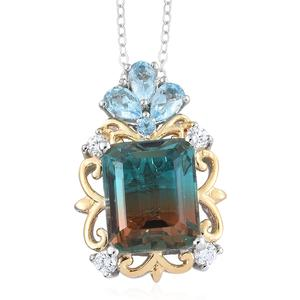Aqua Terra Costa Quartz, Multi Gemstone 14K YG and Platinum Over Sterling Silver Pendant With Chain (20 in) TGW 8.72 cts.
