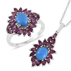 Ceruleite, Orissa Rhodolite Garnet Platinum Over Sterling Silver Ring (Size 9) and Pendant With Chain (20 in) TGW 5.95 cts.