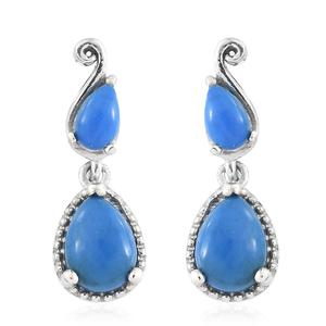 Ceruleite Platinum Over Sterling Silver Earrings TGW 1.40 cts.