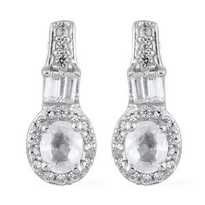 Natural White Zircon Platinum Over Sterling Silver Earrings TGW 1.67 cts.