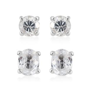 Natural White Zircon Platinum Over Sterling Silver Set of 2 Earrings TGW 1.90 cts.