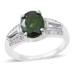 Russian Diopside, White Topaz Sterling Silver Ring (Size 7.0) TGW 3.25 cts.