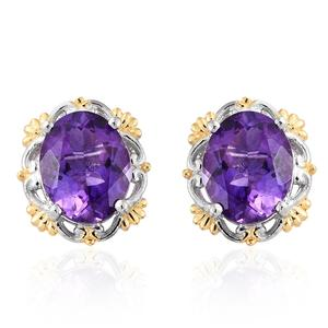 Moroccan Amethyst 14K YG and Platinum Over Sterling Silver Stud Earrings TGW 5.20 cts.