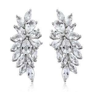 White Topaz Platinum Over Sterling Silver Earrings TGW 7.39 cts.