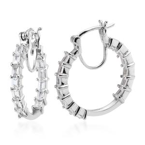 Natural White Zircon Platinum Over Sterling Silver Hoop Earrings TGW 3.00 cts.