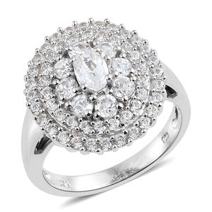 Natural White Zircon Platinum Over Sterling Silver Ring (Size 5.0) TGW 3.68 cts.