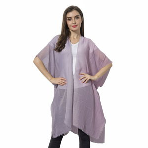 Dark Pink to Light Pink Gradually Changing Color 100% Viscose Kimono (36x36 in)