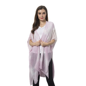 Pink and White 100% Viscose Kimono (36x33 in)