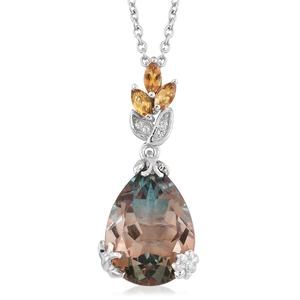 Aqua Terra Costa Quartz, Multi Gemstone Platinum Over Sterling Silver Pendant With Chain (20 in) TGW 12.70 cts.