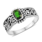 Russian Diopside Sterling Silver Ring (Size 9.0) TGW 0.91 cts.