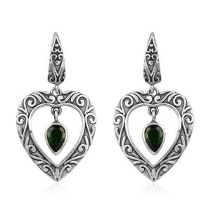Artisan Crafted Russian Diopside Sterling Silver Dangle Heart Earrings TGW 1.48 cts.