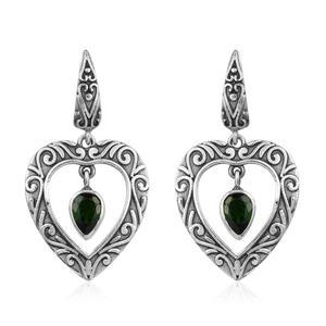 Russian Diopside Sterling Silver Earrings TGW 1.48 cts.
