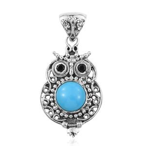 Artisan Crafted Arizona Sleeping Beauty Turquoise, Thai Black Spinel Sterling Silver Owl Pendant without Chain TGW 3.24 cts.
