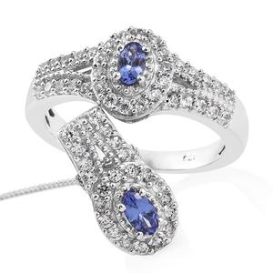 Premium AAA Tanzanite, Cambodian Zircon Platinum Over Sterling Silver Ring (Size 6) and Pendant With Chain (20 in) TGW 1.62 cts.