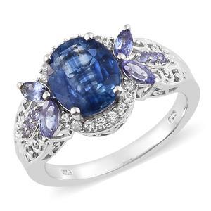 Himalayan Kyanite, Multi Gemstone Platinum Over Sterling Silver Ring (Size 6.0) TGW 5.54 cts.