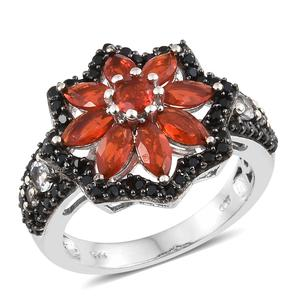 Crimson Fire Opal, Multi Gemstone Black Rhodium & Platinum Over Sterling Silver Floral Ring (Size 7.0) TGW 2.94 cts.