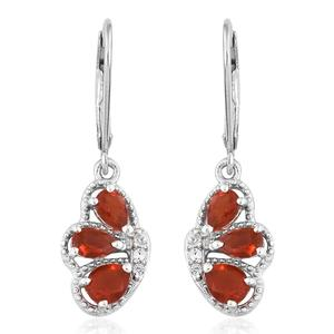Crimson Fire Opal, Cambodian Zircon Platinum Over Sterling Silver Lever Back Butterfly Wing Earrings TGW 1.15 cts.