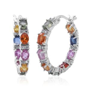 TLV Multi Sapphire Sterling Silver Inside Out Hoop Earrings TGW 4.66 cts.
