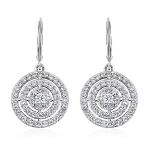 Cambodian Zircon Platinum Over Sterling Silver Earrings TGW 2.54 cts.