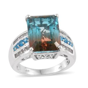 Aqua Terra Costa Quartz, Multi Gemstone Platinum Over Sterling Silver Ring (Size 9.0) TGW 15.37 cts.