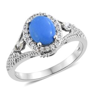 Ceruleite, Multi Gemstone Platinum Over Sterling Silver Ring (Size 7.0) TGW 2.32 cts.