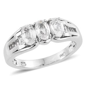 Natural White Zircon Platinum Over Sterling Silver Ring (Size 7.0) TGW 2.65 cts.