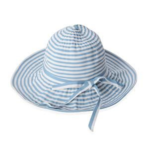Blue and White 100% Paper Straw Strip Floppy Sun Hat with Bowknot (One Size)