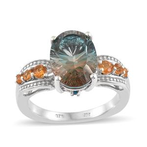 Aqua Terra Costa Quartz, Multi Gemstone Platinum Over Sterling Silver Euro Ring (Size 8.0) TGW 6.85 cts.