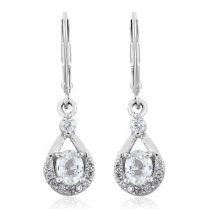 Natural White Zircon Platinum Over Sterling Silver Earrings TGW 1.35 cts.