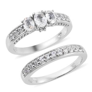 Natural White Zircon Platinum Over Sterling Silver Set of 2 Ring (Size 7.0) TGW 2.65 cts.