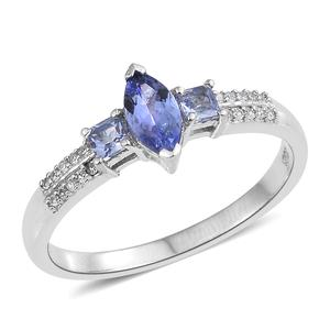 Tanzanite, Cambodian Zircon Platinum Over Sterling Silver Ring (Size 10.0) TGW 1.00 cts.