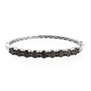 Shungite, Thai Black Spinel Platinum Over Sterling Silver Bangle (7.25 in) TGW 6.34 cts.