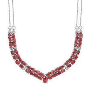 Orange Sapphire, Cambodian White Zircon Sterling Silver V-Shape Necklace (18 in) TGW 8.60 cts.