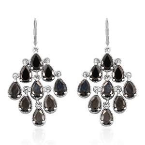 Shungite Platinum Over Sterling Silver Lever Back Earrings TGW 5.00 cts.