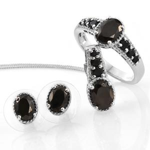 Shungite, Thai Black Spinel Platinum Over Sterling Silver Earrings, Ring (Size 11) and Pendant With Chain (20 in) TGW 3.56 cts.